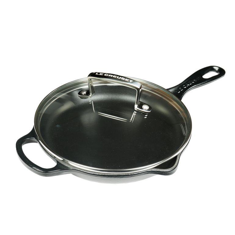 ル・クルーゼ スキレット ガラス蓋 セット ルクルーゼ 鋳物 ホーロー 調理器具 キッチン用品 ブラック 20cm