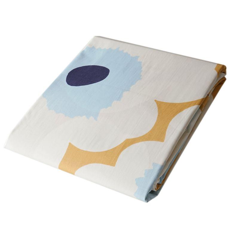 マリメッコ デュベカバー 掛け布団カバー シングル 150×210cm Unikko ウニッコ ベージュ×オフホワイト×ブルー 69080 815