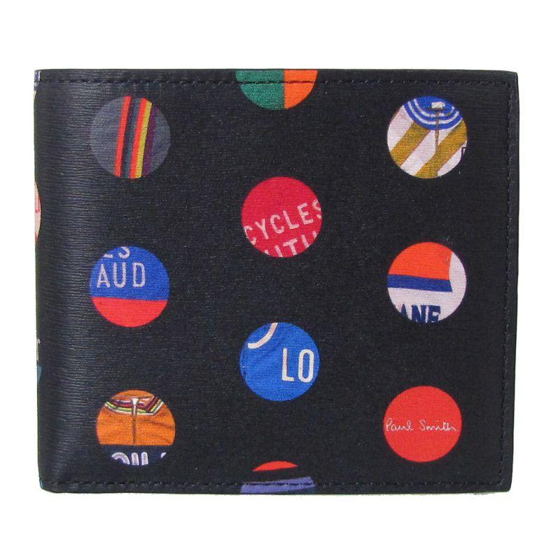 ポールスミス 二つ折り財布 メンズ ブラック×サイクルジャージ マルチカラープリント M1A 4833 A40042 79 Made in ITALY