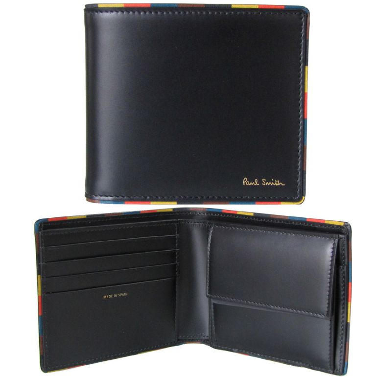 ポールスミス 二つ折り財布 メンズ ブラック×マルチカラー M1A 4833 AEDGE 79 Made in ITALY