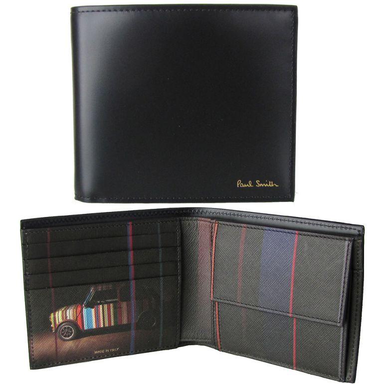 ポールスミス 二つ折り財布 メンズ ブラック ミニクーパー AUXC 4833 W718A 79 Made in ITALY
