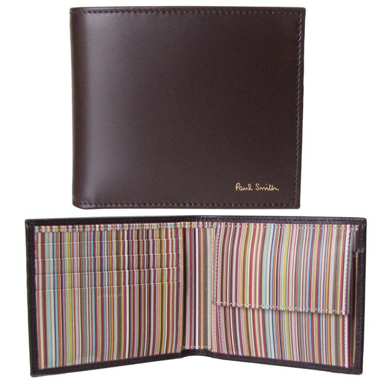 ポールスミス 財布 二つ折り財布 メンズ ブラウン マルチカラー AUXC 4833 W761A 28 Made in ITALY