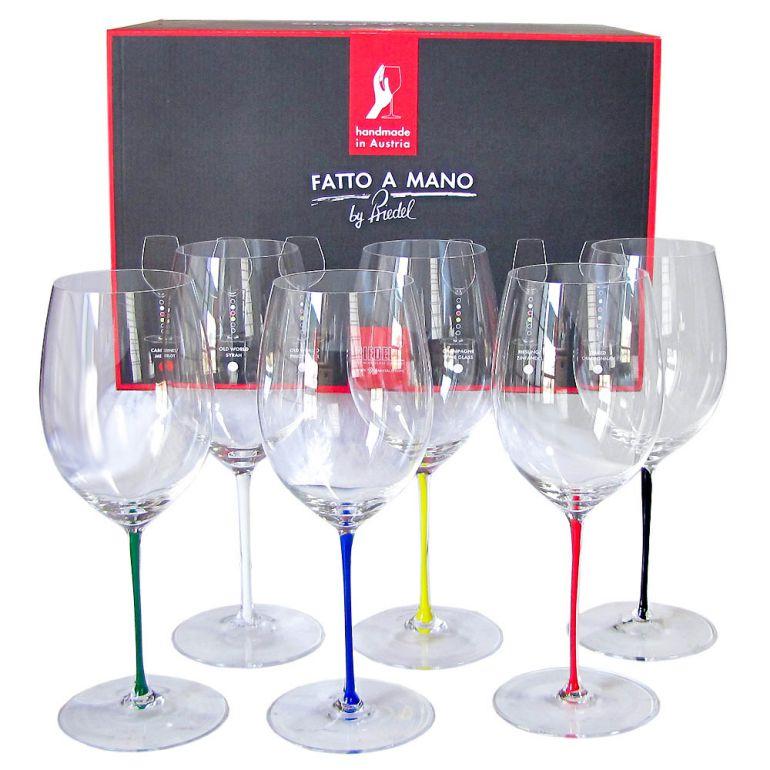 リーデル RIEDEL ワイングラス 6色セット ファット・ア・マーノ カベルネ メルロ 625ml 7900/0