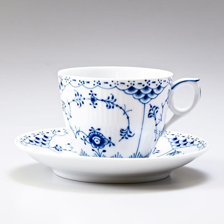 ロイヤルコペンハーゲン ブルーフルーテッド ハーフレース コーヒーカップ & ソーサー 170ml 1102071