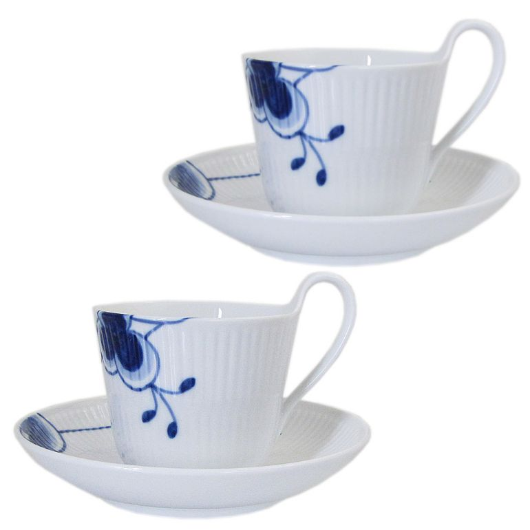 ロイヤルコペンハーゲン ブルーフルーテッド メガ 1884年復刻 HISTRIC コーヒーカップ&ソーサー ペア ハイハンドル 2382918 日本未発売