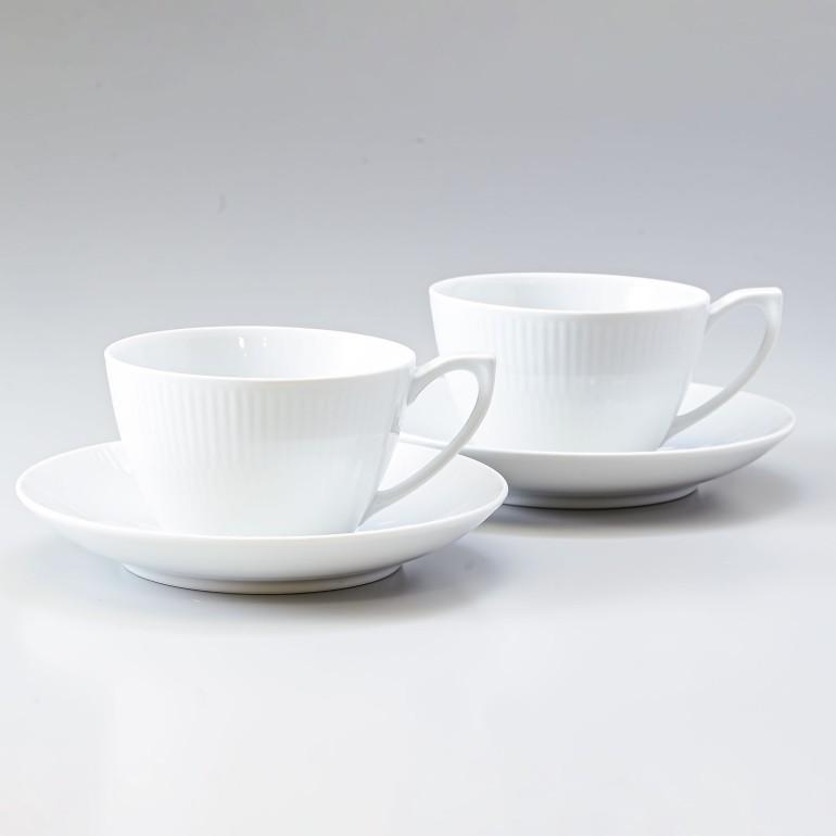 二客セット ROYAL COPENHAGEN ホワイトフルーテッド 食器 お祝い 北欧 2408086 1017383 ロイヤルコペンハーゲン ティーカップソーサー 2客セット 高品質 激安 激安特価 送料無料 280ml