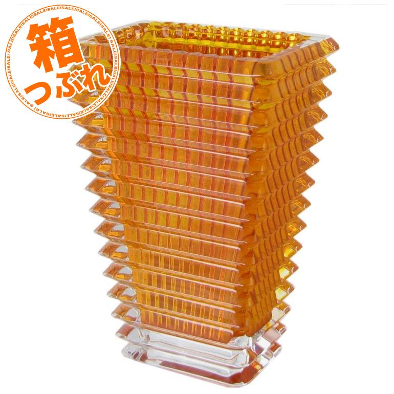 【箱つぶれ】バカラ 花瓶 ベース アイ EYE スクエア アンバー イエロー S 20cm 2812151