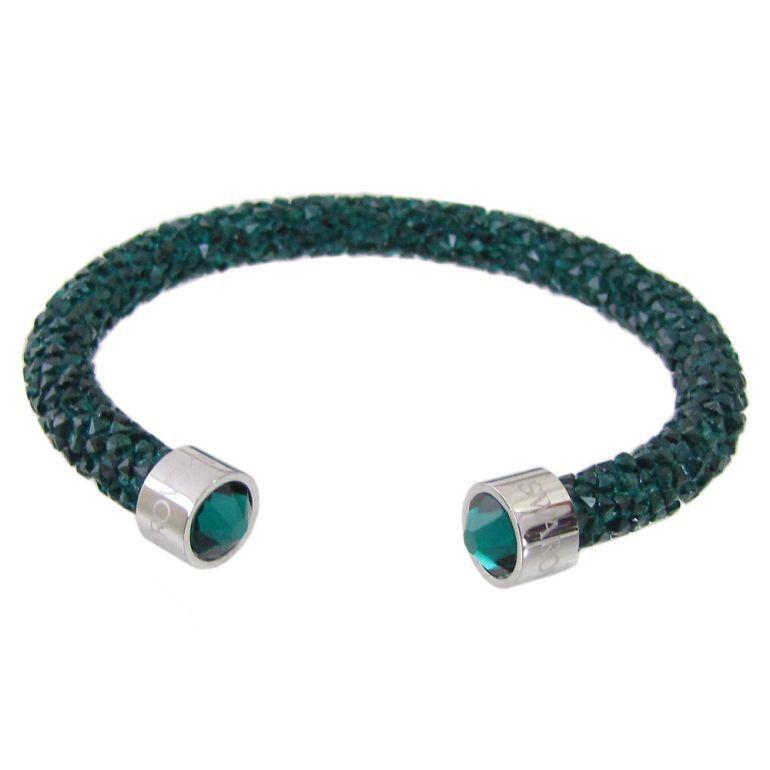 スワロフスキー SWAROVSKI バングル ブレスレット Crystaldust Sサイズ クリスタルダスト グリーン 5292919
