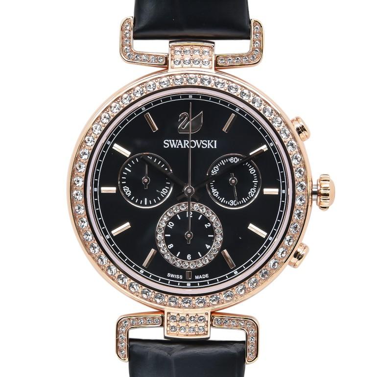スワロフスキー 腕時計 レディース Era Journey ブラック ローズゴールド クロノグラフ 時計 ウォッチ 5295320 母の日