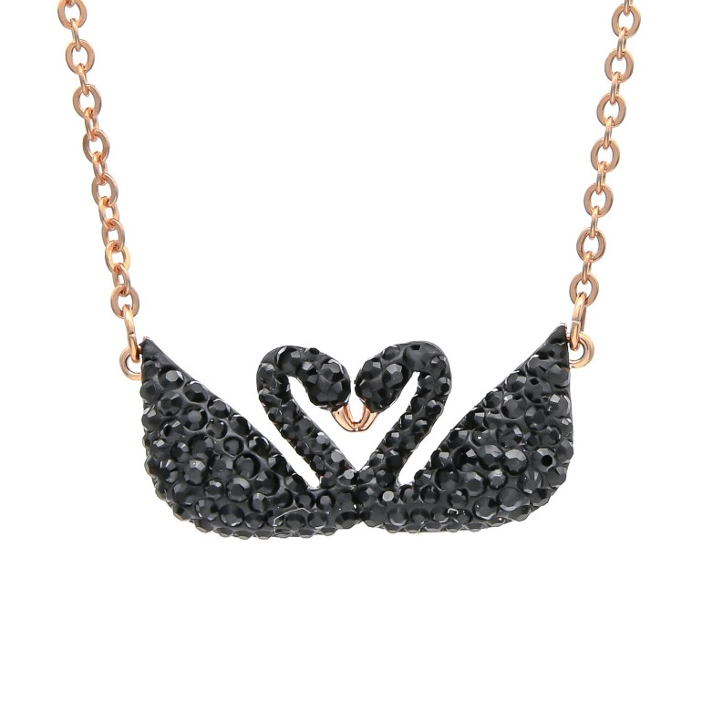 スワロフスキー SWAROVSKI ネックレス Iconic Swan Double アイコニックスワンダブル ペンダント ローズゴールド ブラック 5296468
