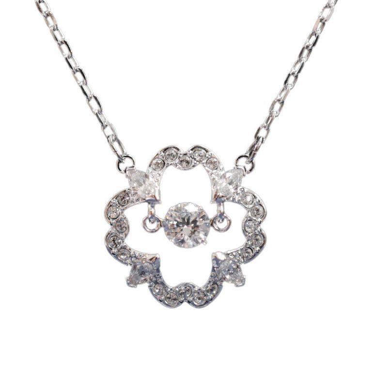 スワロフスキー ネックレス レディース Sparkling Dance Flower ペンダント シルバー 5392759