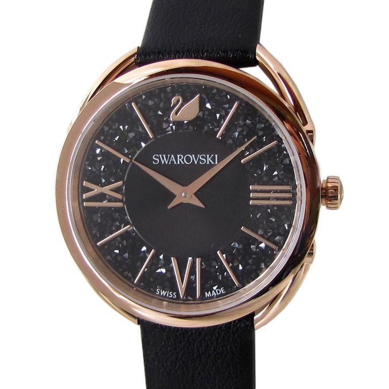 スワロフスキー 腕時計 Crystalline Glam ウォッチ レディース ローズゴールド×ブラックレザーベルト 5452452