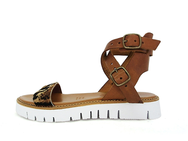 """ANTICHI ROMANI (Romani antichi) Sandals Leather Womens comfort sandal leather leather ankle strap animal pattern Huracan flat thickness bottom (antichi720) import shoes"