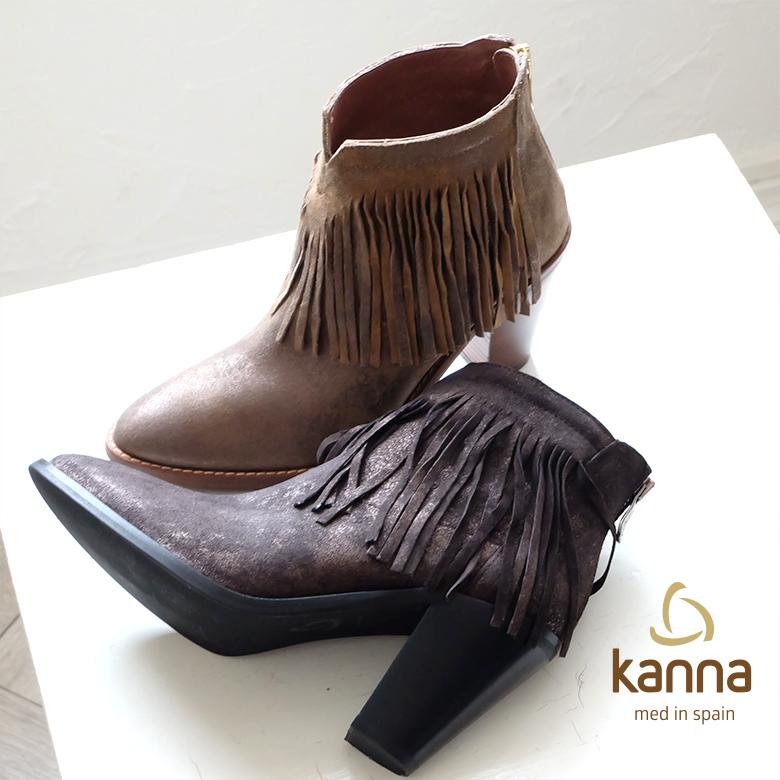 【SALE】kanna in Spain ヒール(kanna6703)インポートシューズ ショートブーツ 本革 スペイン made ウエスタン風 カンナ ブーツ フリンジ