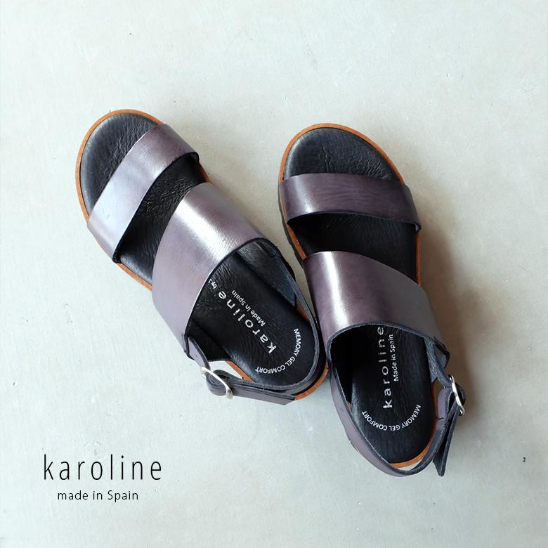 本革 【SALE】karoline サンダル ブラック (karoline86213)インポートシューズ【w1】 快適 キャロライン ベルト 黒 厚底 フラット おしゃれ
