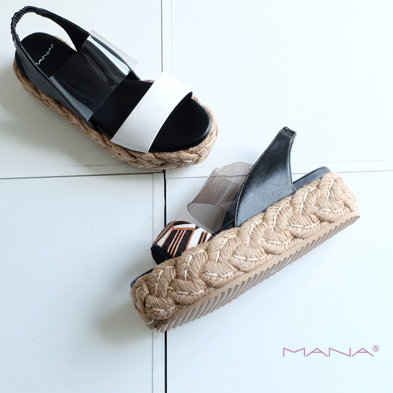 【SALE】MANA マナ レディース 厚底 ウェッジ サンダル クリア素材 本革 モード ジュート(mana592113-14)