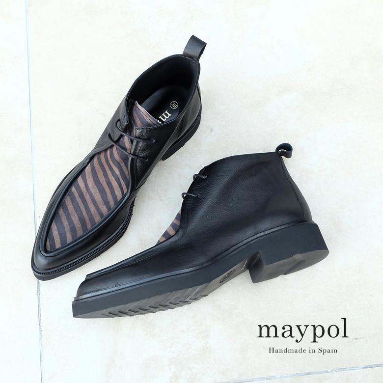 【SALE】maypol メイポール 靴 モカシンポインテッドブール 厚底 軽量 ゼブラ ブラック 本革(maypol-parker29)インポートシューズ 交換片道送料無料 クーポン