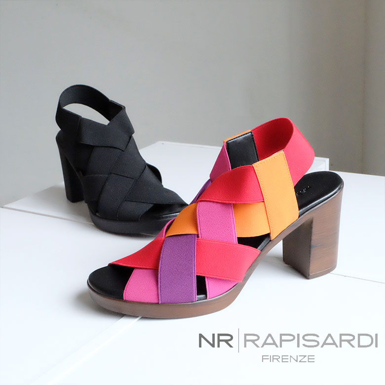 【2019SS/SALE】NR RAPISARDI ラピサルディ ヒール サンダル ゴム カラフル 個性的 イタリア(rapisardi-movella)インポートシューズ