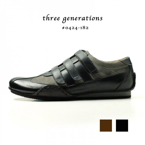 「three generations(スリージェネレーションズ)」ベルクロ 革靴 カジュアル メンズ カジュアルシューズ レースアップ 紐 レザー ビジカジ (tg0424-182)【w1】