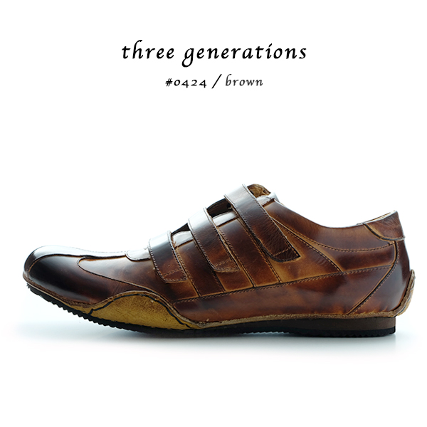 90df6ffa0553 「threegenerations(スリージェネレーションズ)」ベルクロ革靴カジュアルメンズカジュアルシューズレースアップ紐