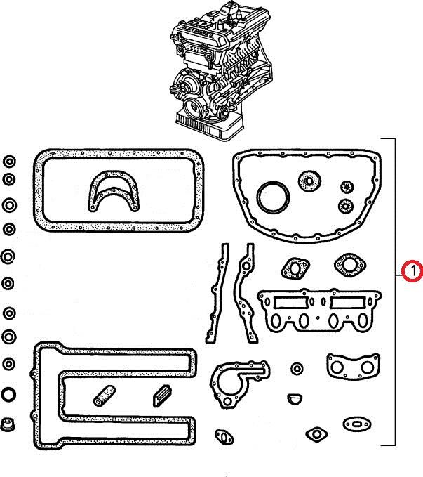 【アルファマジック】 エンジンガスケットセット1600(クランクシール&ヘッドガスケット別売)アルファロメオ スパイダー ジュリア ジュリアクーペ  SPRINT GT GTV GT junior 105系 115系