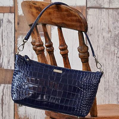  キャリー 2Wayショルダーバッグイタリアンクロコ型押レザー ヴァージョン 革 鞄