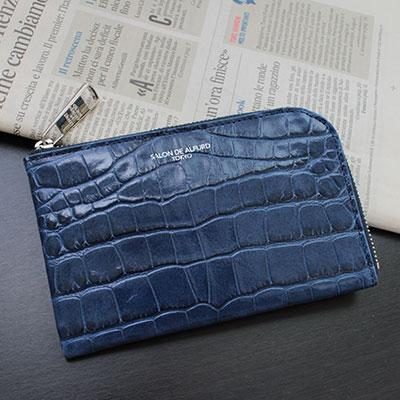 |キャリーL字ミニ財布 イタリアンクロコ型押しヴァージョン