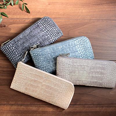 |1218-gli キャリーL字長財布 グリッタークロコ型押しレザーレザー製 革製 薄型レザー財布 日本製 金運 風水
