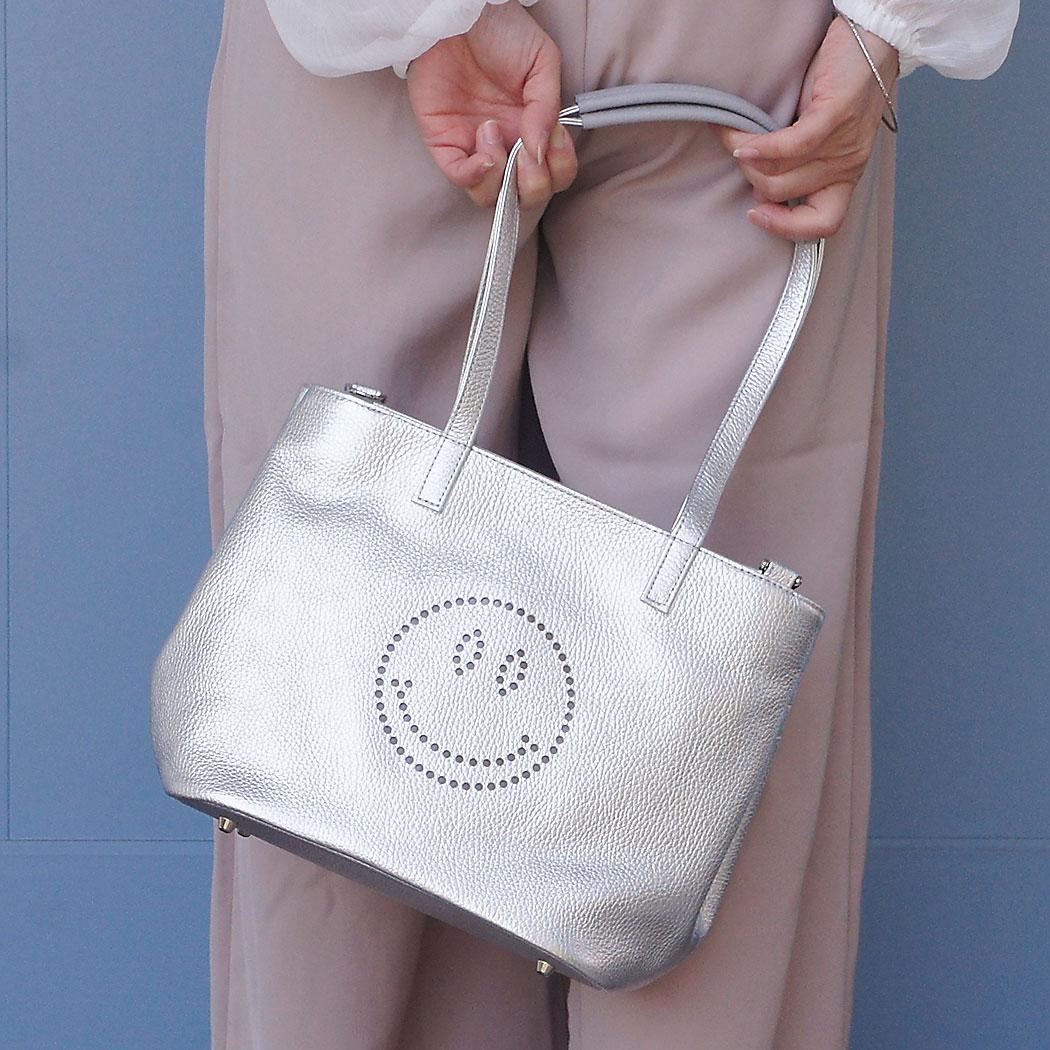 |1487 スマイル スフレ ハンドバッグスフレ スマイル バッグ ニコちゃん シュリンク型押しレザー ハンドバッグ パンチング 肩掛け