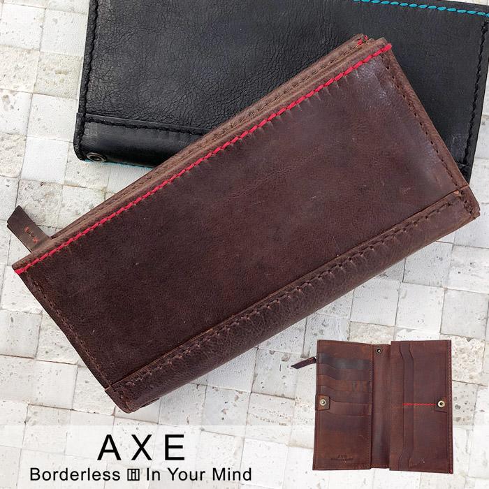 アックス 二つ折り 長財布 サイフ AXE スパイス142614 メンズ 革 ゴートレザー