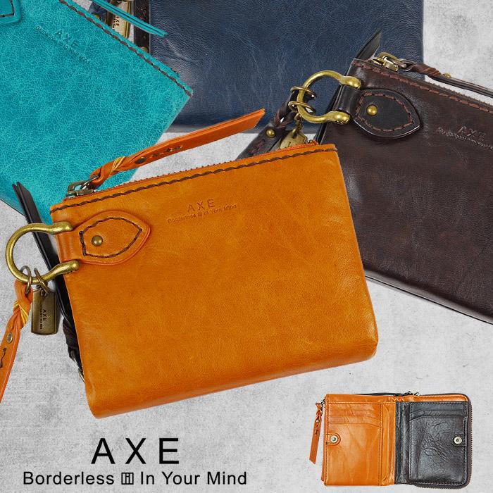 【カードでポイント17倍!】 AXE アックス 二つ折り財布 縦型 メンズ 馬革 全4色 603613