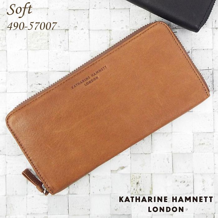 キャサリンハムネット KATHARINE HAMNETT 長財布 ラウンドファスナー 札入れ ソフト牛革 メンズ ブラック/ブラウン 490-57007