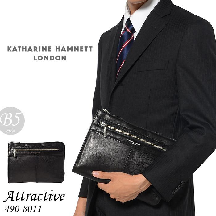 キャサリンハムネット クラッチバッグ セカンドバッグ メンズ ブラック Mサイズ KATHARINE HAMNETT attractive 490-8011