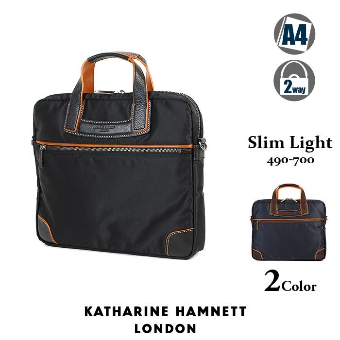 キャサリンハムネット ビジネスバッグ ブリーフケース メンズ ブラック 小さめ KATHARINE HAMNETT SlimLight 490-7400