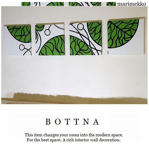 ファブリックパネル アリス marimekko BOTTNA Green 30×30cm 4連 ファブリックボード Alice ファブリックパネル マリメッコ ボトナ グリーン 30×30cm 4枚セット 北欧 おしゃれ インテリア ファブリック パネル コーディネート アート 空間演出に最適