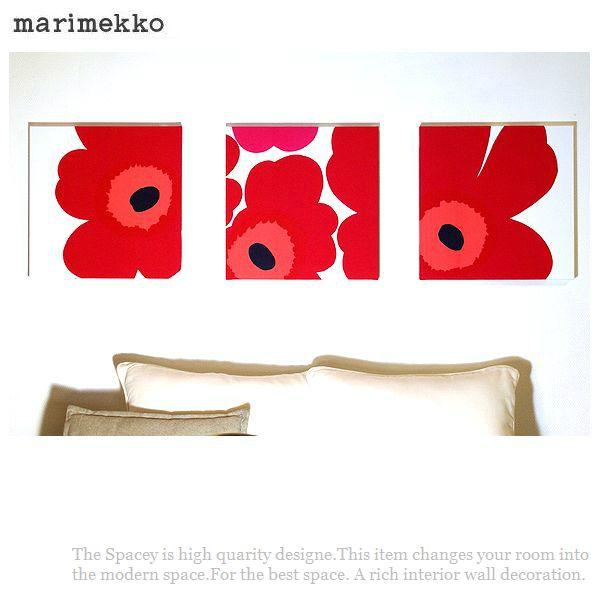 ファブリックパネル アリス marimekko UNIKKO 40×40cm 3枚組 赤 レッド マリメッコ ウニッコ 北欧 壁掛けインテリア 3連