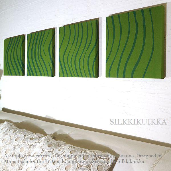 ファブリックパネル アリス 壁掛けフック付き marimekko SILKKIKUIKKA シルッキクイッカ 30×30cm 4枚セット グリーン マリメッコ 北欧 シルキ緑30.4