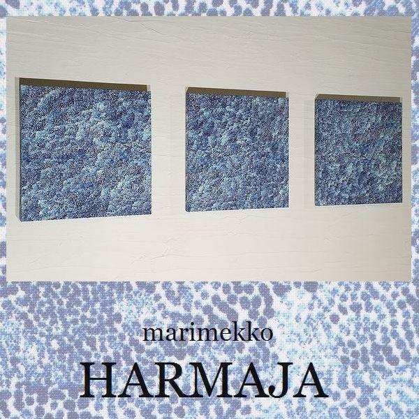 【送料無料】 ファブリックパネル アリス marimekko HARMAJA 30×30cm 3枚セット マリメッコ ハルマヤ 紺 ドット 北欧 お洒落 インテリア 壁掛け ファブリック 壁アート