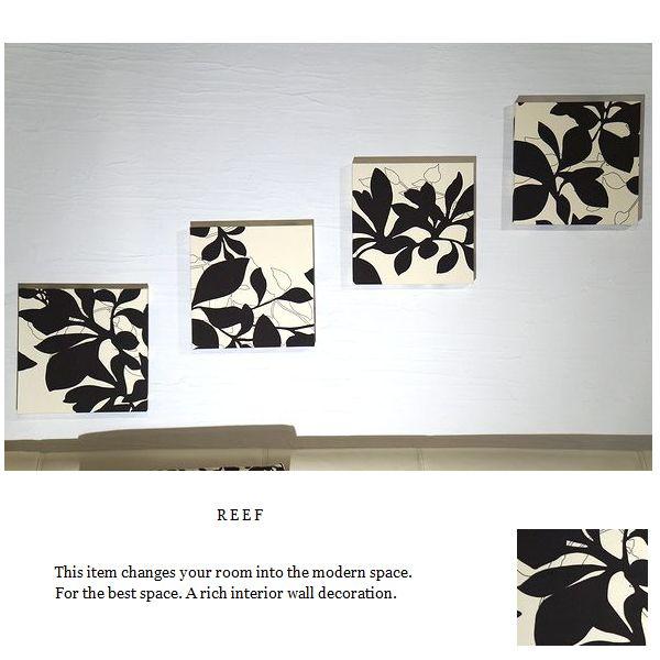 ファブリックパネル 北欧 ブラウン アイボリー BrownReef 30×30cm 4枚組 葉っぱ おしゃれ インテリア 植物柄 北欧 リーフ パネル Reef ファブリックパネル アリス [同梱可能]