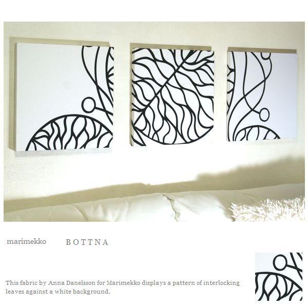 ファブリックパネル アリス marimekko BOTTNA 40×40cm 3枚セット ホワイト マリメッコ ボットナ リビング 店舗 プレゼント ギフト シンプル デザイン