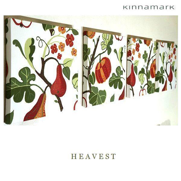 ファブリックパネル アリス KINNAMARK HERVEST 30×30cm 4枚セット 北欧 インテリア オシャレ 植物 シナマーク スェーデン