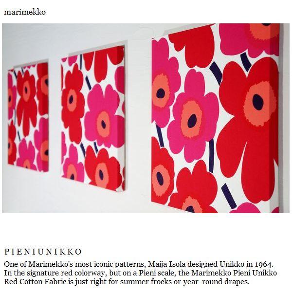 ファブリックパネル アリス marimekko PIENIUNIKKO 40×40cm 3枚セット レッド 赤 マリメッコ ピエニウニッコ 人気 定番 インテリア
