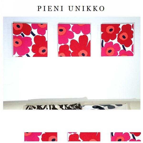 【送料無料】ファブリックパネル アリス marimekko pieniunikko 30×30×2.5cm 3枚組 レッド ファブリック ボード パネル マリメッコ ピエニウニッコ 赤 インテリアアート
