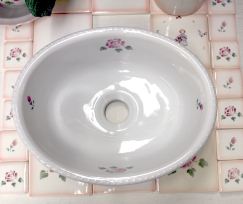■ マニーローズ 陶器 ラウンドシンク  (ウォツシュボウル)【送料無料】 【アリスの時間】