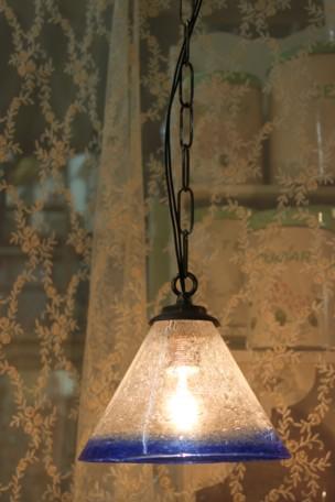 ■気泡吹きガラスセット 朝顔型コバルト(シェード&灯具)【アンティーク照明】【LED電球対応】 【アリスの時間】★