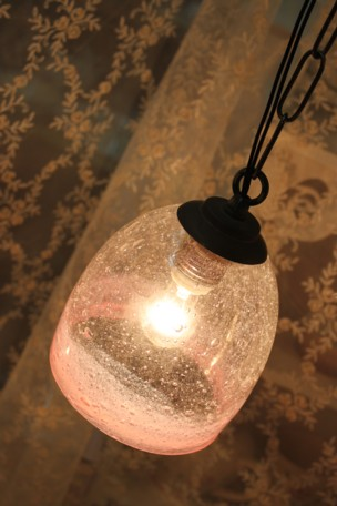 ■【アンティーク照明】【LED電球対応】気泡吹きガラスセット ドーム型ほんのりピンク(シェード&灯具) 【アリスの時間】★