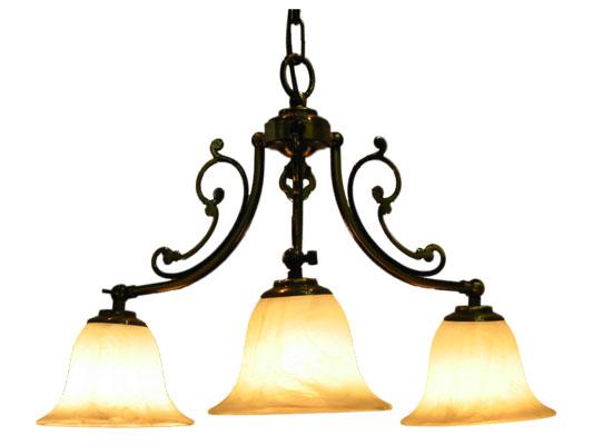 ■ 【アンティーク照明】CP30AB 416 (3灯ペンダントランプ)シェードの向きが上下変えられる 【アリスの時間】★