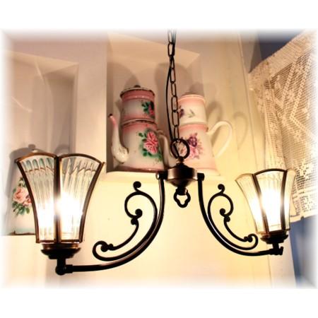 ■【アンティーク照明】CP20AB 023 (日本製2灯ペンダントランプ) 【アリスの時間】★アンティーク レトロ LED ガラス ペンダントライト 天井照明