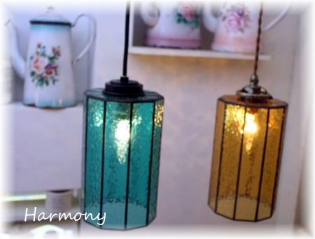 ■ 琥珀ステンドグラス10角ペンダントランプ(日本製) 【アンティーク照明】【LED電球対応】★ブラケットライト アンティーク レトロ LED ガラス