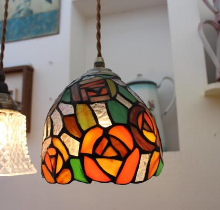 ■ステンドグラス ペンダントランプ エレナローズ 【アンティーク照明】【LED電球対応】【アリスの時間】★